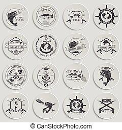セット, elements., ラベル, 型, デザイン, バッジ, 釣り