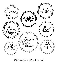 セット, elements., 型, 結婚式, 印刷である, デザイン, 招待