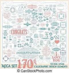 セット, elements., 型, calligraphic, ベクトル, デザイン, 170