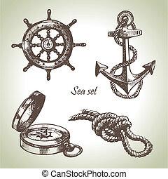 セット, elements., 手, デザイン, 海, 海事, イラスト, 引かれる