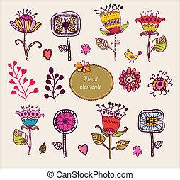 セット, elements., 手, flowers., 花, 引かれる