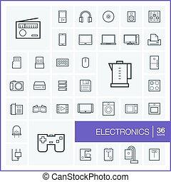 セット, elements., pictogram, 小道具, デザイン, 技術, symbols., アイコン, マルチメディア, ジョイスティック, エレクトロニクス, 線である, 電話, イラスト, ビデオ, 線, 台所, グラフィック, アウトライン, フィルム, ベクトル, 薄くなりなさい, 音楽
