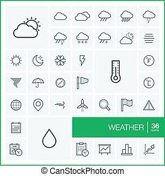 セット, elements., pictogram, 雪, meteo, デザイン, symbols., アイコン, キャスト, 天候, 雲, 傘, 線である, イラスト, 線, グラフィック, アウトライン, 月, ベクトル, 薄くなりなさい, 雨, 温度計