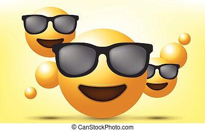 セット, emoji, ベクトル, イラスト, emoticon., 現実的