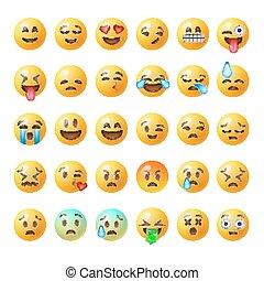 セット, emoticons, 隔離された, 背景, 白, emoji