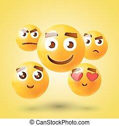 セット, emoticons., emoji., 隔離された, icons., ベクトル, イラスト, 背景, 微笑, 白