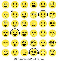 セット, emoticons., smiley, アイコン