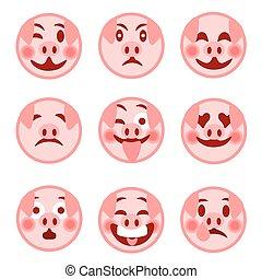 セット, emoticons., smiley, イラスト, pig., 陽気