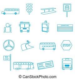 セット, eps10, アウトライン, アイコン, 単純である, バス, 輸送