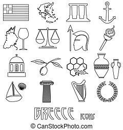 セット, eps10, アウトライン, アイコン, 国, シンボル, 主題, ギリシャ