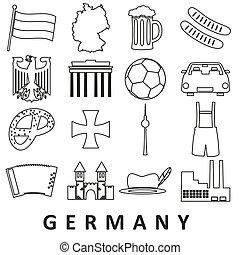セット, eps10, アウトライン, アイコン, 国, 主題, ドイツ