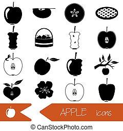 セット, eps10, アップル, アイコン, 単純である, 主題, 黒