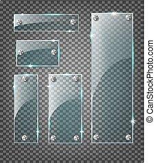セット, eps10, ガラス, 現代, サンプル, バックグラウンド。, ベクトル, プレート, 透明