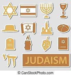 セット,  eps10, シンボル, 宗教, ベクトル, ユダヤ教, ステッカー