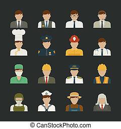 セット, eps10, フォーマット, 人々, 労働者, , ベクトル, アイコン, アイコン