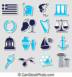 セット, eps10, 国, シンボル, 主題, ギリシャ, ステッカー