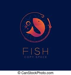 セット, eps10, 色, テキスト, fish, デザイン, 釣り, すみれ, 青, 勾配, 隔離された, オレンジ, 泡, 棒, シンボル, スペース, イラスト, 暗い背景, コピー, アイコン, 空気, ベクトル