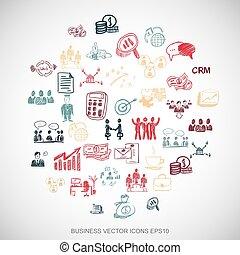セット, eps10, illustration., ビジネス アイコン, 手, 多色刷り, ベクトル, white., doodles, 引かれる