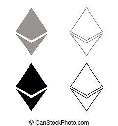 セット, etherium, 色, 灰色, 黒, アイコン