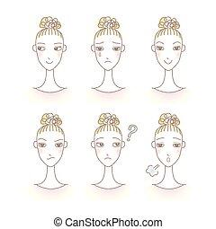 セット, expression., 女性, avatar., emotions., 美顔術, 女の子