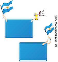 セット, flag., フレーム, 2, アルゼンチン, スポーツ, メッセージ
