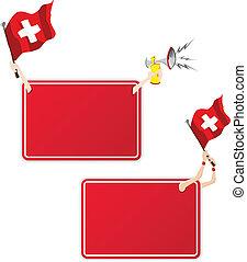 セット, flag., フレーム, 2, スイス, メッセージ, スポーツ