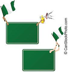 セット, flag., フレーム, 2, ナイジェリア, スポーツ, メッセージ