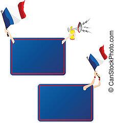 セット, flag., フレーム, 2, フランス, メッセージ, スポーツ