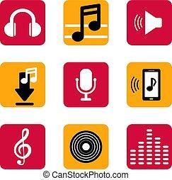 セット, flat., app, 電話, 音楽, 痛みなさい, アイコン