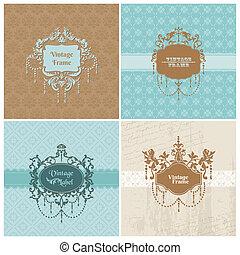 セット, frame-, 写真, -, 招待, 挨拶, ベクトル, レトロ, 結婚式, カード, お祝い