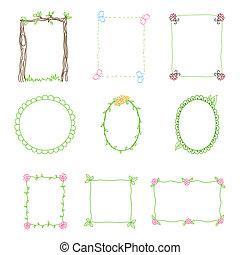 セット, frames., イラスト, 手, ベクトル, 3., 引かれる