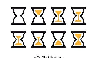 セット, frames., イラスト, sprites, バックグラウンド。, 砂, clocks, 黒, コレクション, タイマー, 白, アニメーション, 砂時計
