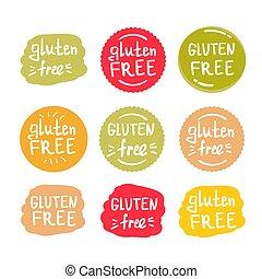 セット, gluten, テキスト, ラベル, 無料で, 緑, ラウンド
