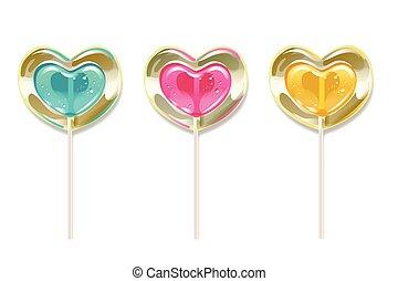 セット, heart., ロマンチック, バレンタイン, day., 形, ベクトル, lollipops, 甘さ, illustration.