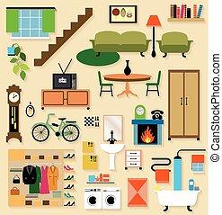 セット, house., 部屋, 家具