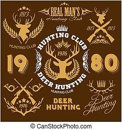 セット, hunting., elements., ラベル, 鹿, デザイン, ロゴ, バッジ