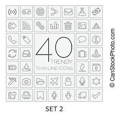 セット, icons., 40, 線, 2., 薄くなりなさい