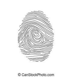 セット, identity., 指紋, アイコン, イラスト, ベクトル, セキュリティー, id