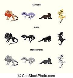 セット, illustration., オブジェクト, シンボル。, 隔離された, 環境, 尾, ベクトル, 動物群,...