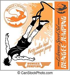 セット, illustration., バンジー, -, ベクトル, モノクローム, jumping., バッジ