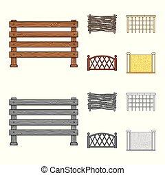 セット, illustration., フェンス, 壁, オブジェクト, 隔離された, ベクトル, 門, logo., 株