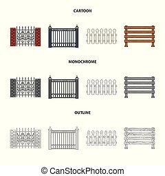 セット, illustration., フェンス, 壁, シンボル。, イラスト, ベクトル, 門, 株