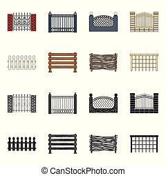 セット, illustration., フェンス, 壁, ベクトル, デザイン, 門, icon., 株