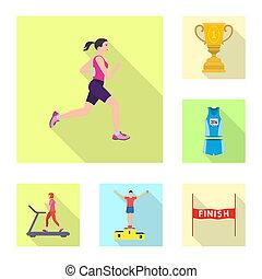 セット, illustration., 勝者, イラスト, ビットマップ, フィットネス, スポーツ, logo., 株