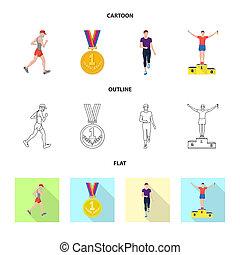 セット, illustration., 勝者, 隔離された, オブジェクト, ビットマップ, フィットネス, icon., スポーツ, 株