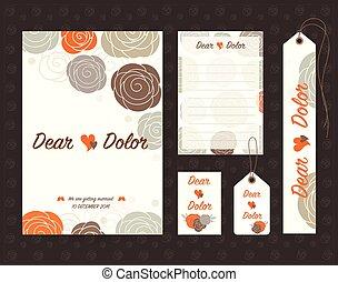 セット, illustration., 型, 招待, ベクトル, デザイン, 結婚式, template.