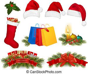 セット, illustration., 大きい, 花輪, 木, ベクトル, candle., クリスマス