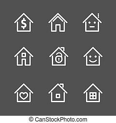 セット, illustration., 家, ベクトル, 家, 白, icon.