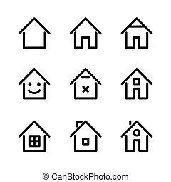 セット, illustration., 家, ベクトル, 家, icon.