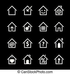 セット, illustration., 家, ベクトル, 白, icon.